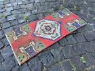 ETHNIC PATTERNED TURKISH CARPET IS 100% WOOL AND HAND WOVEN   1,3 x 2,9 ft