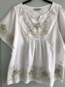 Embroidered Peasant Blouse Dickins & Jones Cotton Size 14