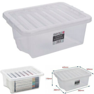 16L  PACK OF 5 - PLASTIC STORAGE BOX QUALITY CONTAINER CLEAR BASE & LIDS