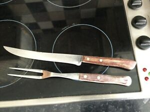 VINTAGE PRESTIGE 2 PIECE CARVING SET STAINLESS STEEL WITH WOODEN HANDLES