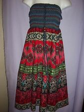 Strapless Smocked Bodice Dress Ladies one size 6-8-10.NEW Indian style cotton.PE