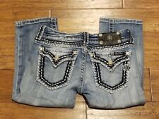 Miss Me CROPPED Jeans Women's Size 25 (25x17) Button Flap Thick Stitch VGUC