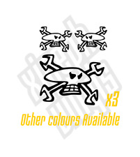 3 x Guy Martin Skull and Spanners vinyl sticker decal helmet car bike - window