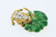 18k Yellow Gold 1ct Diamond .06ct Emerald Green Enamel Frog Lily Pad Brooch Pin