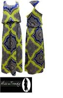 NEW WOMENS LADIES NEON PAISLEY TWIST BACK MAXI DRESS SIZES 6,8,10, 12, 14 ,16,18