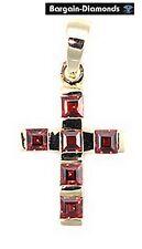 red garnet Christian Cross 10K yellow gold pendant birthstone christening