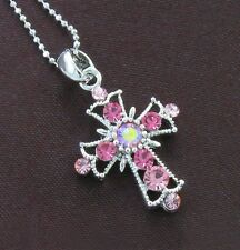 Religious Cross Pink Crystal Rhinestone Necklace Charm Pendant Rhodium Plated e1