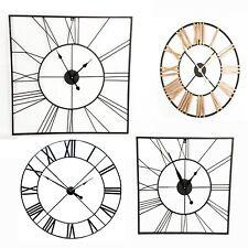 Large Outdoor Garden Wall Clock Big Roman Numerals Black Gold 80cm 60cm Skeleton