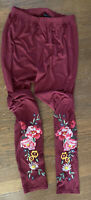 Agnes & Dora Floral Embroidered Leggings Size XL Boho Chic
