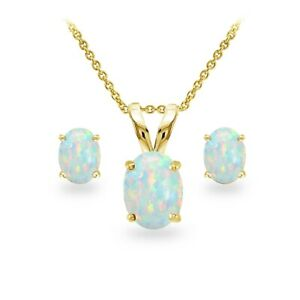 Gold Tone over Silver Simulated White Opal Oval Necklace and Stud Earrings Set