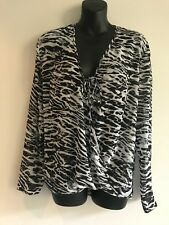 WITCHERY ANIMAL PRINT SHEER DRAPE BLOUSE / TOP SIZE 10 AS NEW