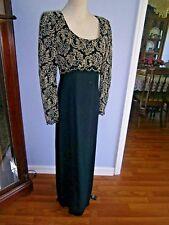 LIZ CLAIBORNE NIGHT SZ 8  EMPIRE WAIST LONG DRESS Treading Gold Lace