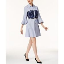 NWT eci Pinstripe Lace Detail Shirt Dress with Belt 14 Blue Navy White