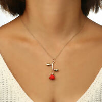 Fashion Women Rose Gold Silver Charm Pendant Long Chain Necklace Jewelry