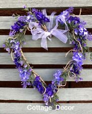 SHABBY CHIC ARTIFICIAL LAVENDER WREATH HEART SHAPE HOME COUNTRY COTTAGE DECOR