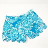 Lily Pulitzer LION IN THE SUN Buttercup Scallop Short 000 Blue White Teal Summer