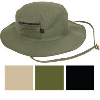 Solid Wide Brim Military Boonie Hunting Fishing Hat with MA-1 Pocket