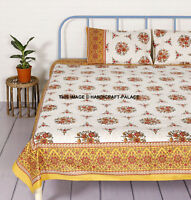 Printed Bed sheet Cotton Queen Bed cover Indian Bedspread Throw With Pillowcase