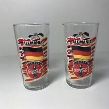 """1994 USA Soccer World Cup Alemania Siempre 2 Coca Cola Promo Glasses 5.25"""" Tall"""