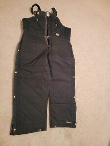 NWT Carhartt Men's R33 Yukon Quilt Lined Zip to Waist Biberalls Black 40 x 30
