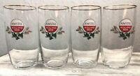 Amstel Beer Glasses Gold Rimmed HOLLAND BEER Wheat & Hops Motif Set of 4 EUC!