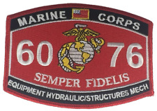 MARINE CORPS 6076 EQUIPMENT HYDRAULIC STRUCTURES MECH SEMPER FIDELIS MOS PATCH