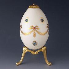 Lenox China Jewels Treasures Ribbon & Gold Bows Egg w/ Stand 1994 Hand Enameled