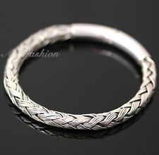 Mens Sterling Silver Bracelet Hand Crafted Woven Rope Style Chain Hip Hop b16