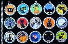 15 Halloween Cats Silver Flat Bottle Cap Necklaces Set 1