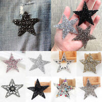 Glitter Rhinestone Star Patches Shiny Appliques DIY Craft Clothes Sewing Supply