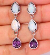 STUNNING White Fire Lab Opal & Purple Crystal Stud Dangle Pierced Earrings