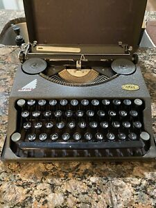 Vintage Hermes Baby Portable Typewriter 1938 with Metal Cover - Restored/Cleaned