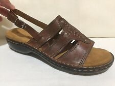 NATURALIZER PRESCOTT BROWN LEATHER SLINGBACK WEDGE HEEL SANDALS WOMENS SZ 9.5 M