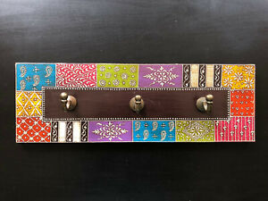Wooden Hand crafted Multi Coloured Hand Painted Wall Hooks - Triple Hooks