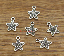 100pcs Star Charms  Five-pointed Star Small Star Antique Silver Tone 11x14 2490