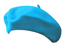 Classic Wool Blend French Artist Beret CERULEAN BLUE Parisian Slouch Fashion Hat