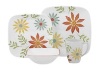 16 Piece Corelle Square Happy Days Dinnerware Set
