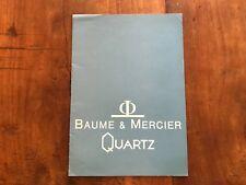 Catálogo BAUME & MERCIER QUARTZ Catalogue - Vintage- 1980's - Watches Montre