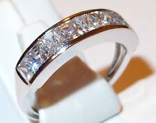 Cubic Zirconia Half-Eternity Band in solid 9k White Gold, 2.110ct. Size Q.