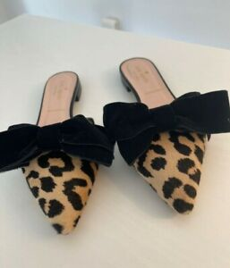 Kate Spade Leopard And Bow Detailed Mules Size 6M