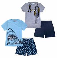 Boys Shark Pyjama Set Kids Cotton T-shirt Top Shorts PJ Age 5 6 7 8 9 10 11 12 Y