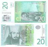 Serbia 20 Dinara 2013 P-55b 1st Prefix 'AA' Banknotes UNC