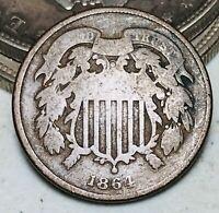 1864 Two Cent Piece 2C Ungraded Choice Good Civil War Date US Copper Coin CC7146