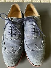 Cole Haan Women's Blue Suede Oxford with Pink Soles Size 8B