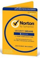 NEW Norton Internet Security DELUXE 2018 5 Device 1 Year *Emailed*