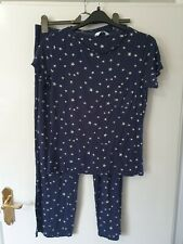 Marks & Spencer Navy Star Pyjamas - short sleeve, long leg Size 12