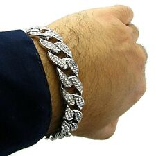 """Miami Cuban Link Cz 15mm Full Iced-Out Hip Hop Silver Tone 8"""" In Chain Bracelet"""