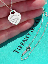 Tiffany & Co Return To Tiffany Sterling Silver Heart Tag Charm on Loop Necklace