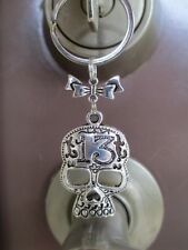 Large Lucky 13 Skull with Cute Bow Key Chain Key Ring-Motorcycle Biker Chick
