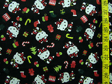 HELLO KITTY CANDY CANE CHRISTMAS ON BLACK 100% COTTON FABRIC BY THE 1/2 YARD